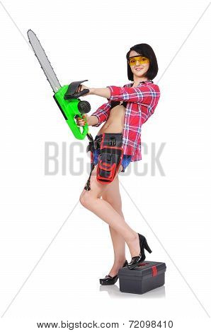 Girl Holding Electric Saw