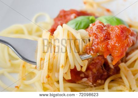 Spaghetti And Sauce On Fork