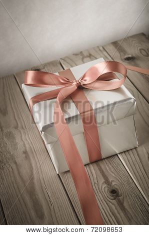 Silver Gift Box Angled With Vintage Effect