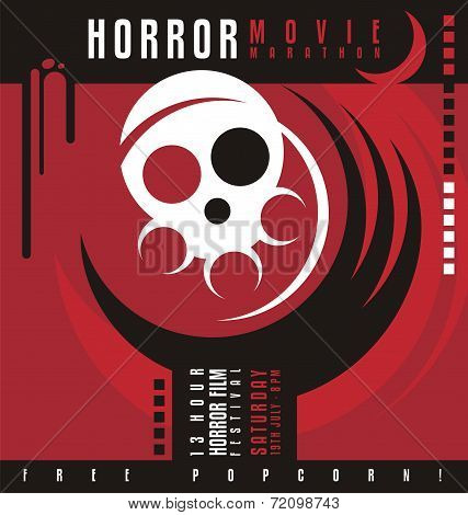 Horror movie marathon or horror film festival poster design