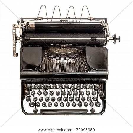 Old Typewriter Isolated On White Background. Antique Object
