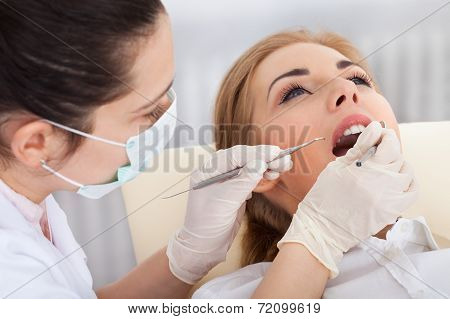 Young Woman Having Dental Checkup