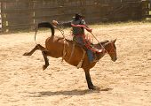 foto of bronco  - Cowboy on a bucking bronco at the rodeo - JPG