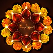 stock photo of diwali lamp  - Vector hindu festival background of diwali - JPG