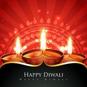 image of diya  - Vector happy diwali background - JPG