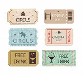 Постер, плакат: Vintage cinema circus and party tickets set