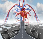 image of cardiovascular  - Road to health medical health care concept as a group of tangled roads with one straight path leading to a human cardiovascular heart system in the sky as a symbol for rehabilitation and habits for living a healthy lifestyle with nutrition and fitness - JPG