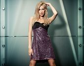 picture of ladies night  - Beautiful lady in short dress posing in the night city - JPG