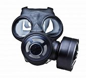 stock photo of rubber mask  - gas mask isolated on white - JPG