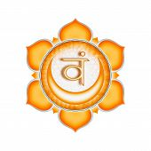 image of kundalini  - Illustration of a orange sacral chakra mandala - JPG