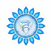 image of kundalini  - Illustration of a blue throat chakra mandala - JPG