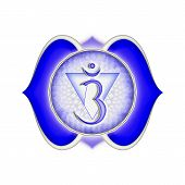 stock photo of kundalini  - Illustration of a blue brow chakra mandala - JPG