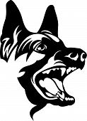 pic of german shepherd dogs  - Black and white vector image of Crocodile Dog  - JPG