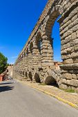 picture of aqueduct  - The famous ancient aqueduct in Segovia Spain - JPG