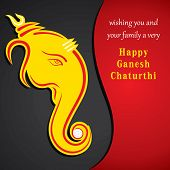 stock photo of ganesh  - happy ganesh chaturthi festival greeting card background vector - JPG