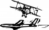 picture of biplane  - Rough woodcut style images of a jet and a biplane aircraft - JPG