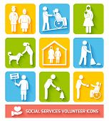 foto of working animal  - Social help services and volunteer work icons set flat isolated vector illustration - JPG