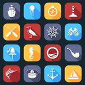 foto of paddling  - Nautical sea travel flat icons set with paddles seagull helm isolated vector illustration - JPG