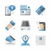 stock photo of financial  - Flat icons set of financial accounting information banking investment and consulting service mobile analytics data - JPG