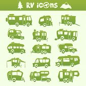 pic of recreational vehicles  - Vector green recreational vehicle shape cartoon set - JPG