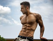 picture of single man  - Handsome shirtless muscular young man outdoor looking away