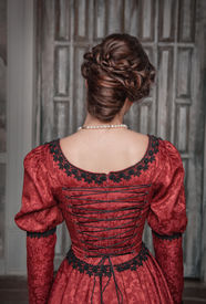 image of pompous  - Portrait of young beautiful medieval woman in red dress back - JPG