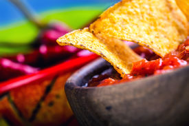 image of doritos  - Salsa with tortilla chips and chilli peppers - JPG