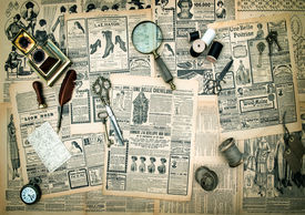stock photo of edwardian  - antique accessories sewing and writing tools vintage fashion newspaper for the woman with advertising - JPG