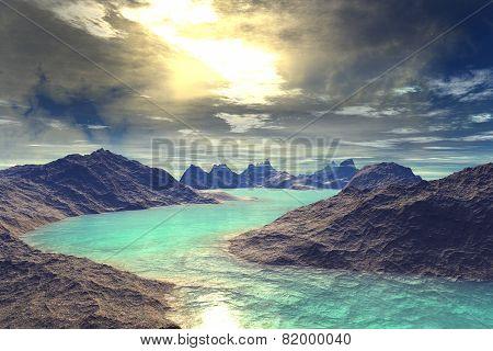 3D Rendered Fantasy Alien Planet. Rocks And Lake