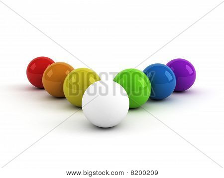 Rainbow Colored Balls And One White