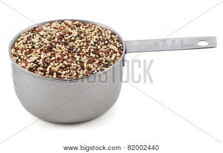 Mixed Red, White And Black Quinoa In A Cup Measure