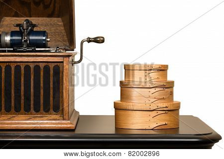 Isolated Shaker Boxes And Antique Phonograph