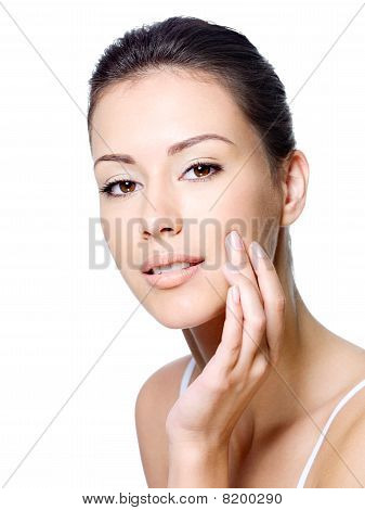 Sensual Woman Stroking Face