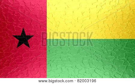 Guinea-Bissau flag on metallic metal texture