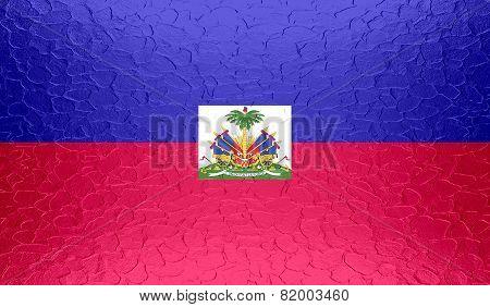 Haiti flag on metallic metal texture