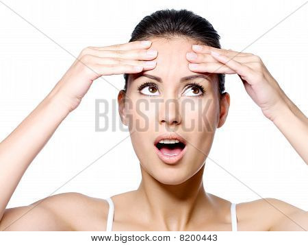 Woman In Expressive Emotion Of Horror Because Of Crease