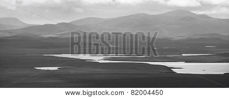 Scottish Landscape With Loch And Moorland. Lewis Isle. Uk