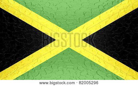 Jamaica flag on metallic metal texture