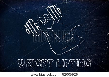 Weight Lifting, Man Biceps Lifting Heavy Dumbbell