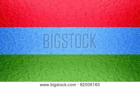 Karelia flag on metallic metal texture