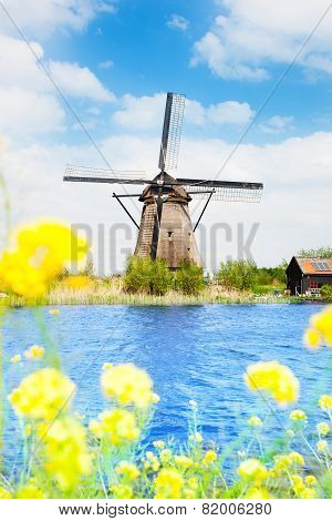 Old windmill in Kinderdijk at spring