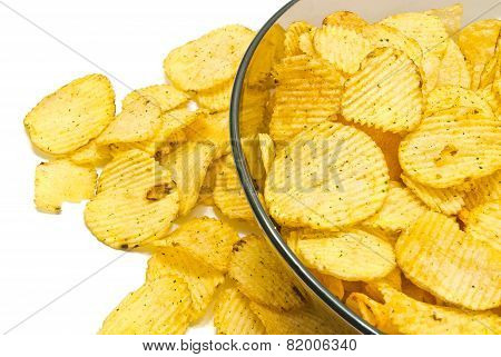 Glass Plate With Ruffles Potato Chips