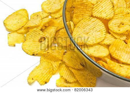 Glass Plate With Ruffles Chips Closeup