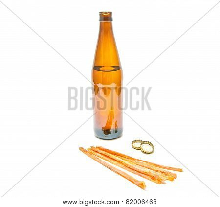 Fish Appetizer And Bottle Of Light Beer
