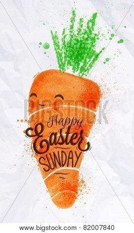 Happy easter carrot poster