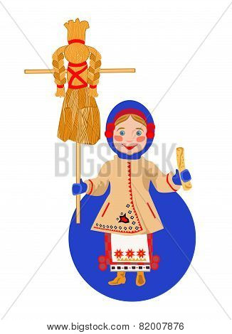Ukrainian Girl With A Pancake And A Scarecrow Shrovetide (Maslenitsa)