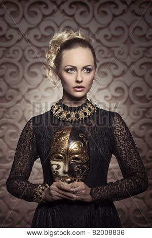 Woman With Antique Lady Mask