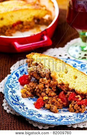 Baked Pudding With Meat And Dough.