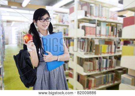 Young High School Student In Library