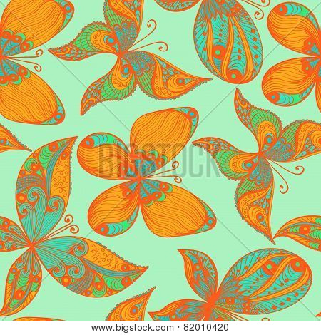 Blue And Orange Hand Drawn Seamless Background With Butterflies